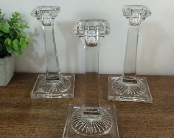 SALE! Vintage Crystal Candlesticks Candle Holders Candle Sticks - Square Design