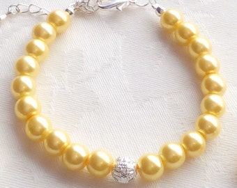 Yellow Bracelet, Yellow Jewelry, Yellow Pearl Bracelet, Bridesmaid Gift, Wedding