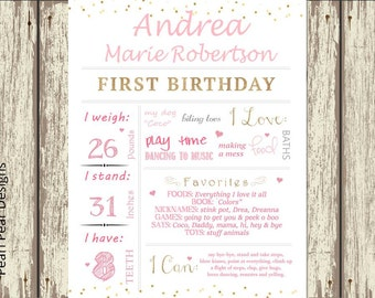 Girl pink Birthday Chalkboard Poster Sign: Year Girl First Birthday Chalkboard Stat digital file prop/decor - Monthly/ First year bday