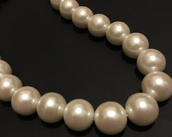Vintage Japanese Glass Pearls 12mm (x25)