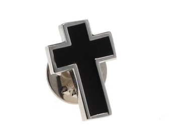 Silver and Black Religious Cross Lapel Pin Tie Tack