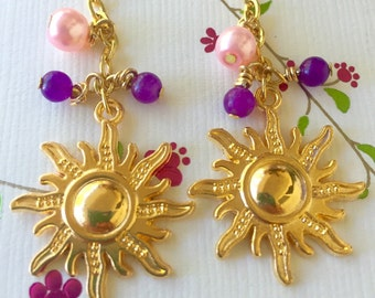 Golden Sun Earrings Inspired by Disney's Tangled