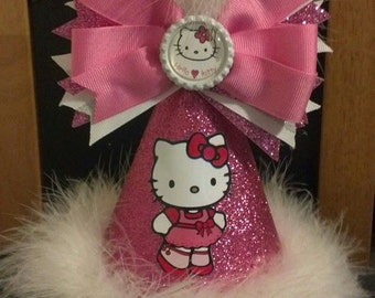 1 hello kitty birthday party hat with removable bottlecap hairbow party supplies