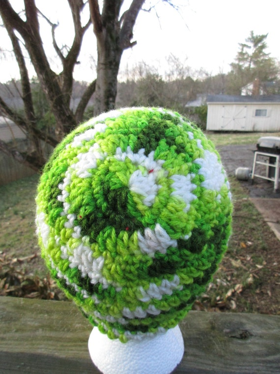 Handmade Crochet Beanie in Greens - Teen to Adult Size