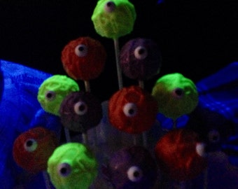 GLOW in the DARK One-eyed Monster cake pops, neon colors, Cosmic Party, I love the 80s, 1 DZ