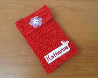 Mobile phone pocket with name