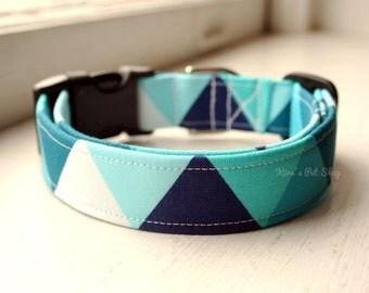 Geometric Dog Collar, Blue Dog Collar, Designer Dog Accessory, Pet Accessories, Adjustable Collar, Fabric Dog Collar, Plastic Nickel Brass