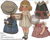 Paper Doll Set Printable Vintage Child's Toy Edwardian Hat Dresses Bloomers Mary Jane Shoes Rosy Cheek Victorian Child Little Girl Toys