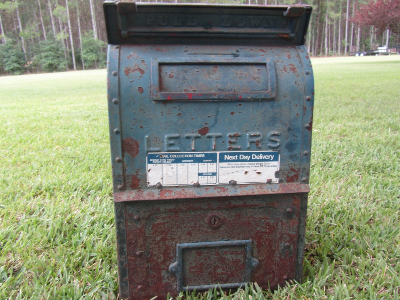 Vintage Metal Post Office Drop Off Box Mail Box US Postal