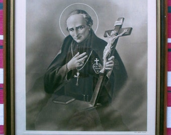 RARE Antique Religious Etching Print S. Vincenzo Maria Strambi Stab. Pezzini Milano