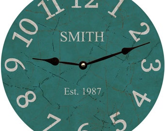 Personalized Teal Wall Clock