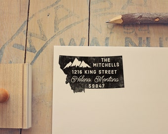 Montana Return Address State Stamp - Personalized Rubber Stamp