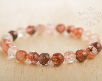 Red iron quartz 8 mm stretch beaded bracelet natural semi precious stone