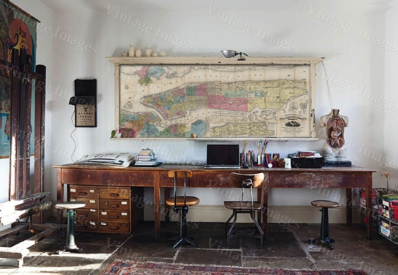 Old New York Map  New York City Map Old Antique Restoration - New york map restoration hardware