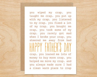 Crap Happy Father's Day Card - Father's Day Cards - Funny Father's Day Card - Thank You Dad