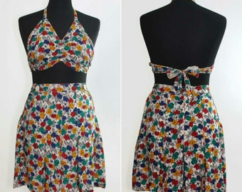 1940s Pleated Floral Shorts & Halterneck Playsuit