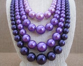 4 Strand Purple Graduated Beaded Necklace - Retro Style Fashion - Purple Pearl Necklace - Mid-Century Modern