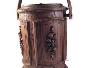 Midcentury Ice Bucket - Faux Wood Ice Bucket by Brentwood - Brown Plastic Ice Bucket