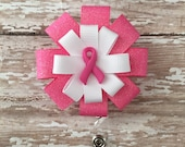 Pink Ribbon Retractable Badge Holder - Nurse Name Badge Holder - Retractable id holder - ID Badge Holder Retractable - ID Card Badge Holder