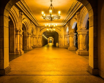 Hallway at night, in Balboa Park, San Diego, California. | Photo Print, Stretched Canvas, or Metal Print.