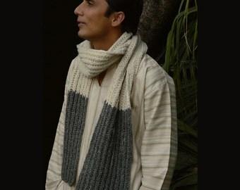 Knit Scarf.  Mens Knit Scarf. Handmade Scarf.  Pure Wool & Cotton Blend Scarf. Winter Scarf. Chunky Rib Scarf.  Super Soft Comfy Scarf.