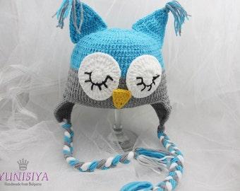 Crocheted Baby Owl Hat, Photo Prop, Baby Owl Beanie, Infant Owl Hat, Crochet Baby Hat, Baby Shower Gift, Grey Owl Hat