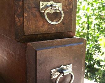 Wood storage drawers from vintage sewing machine