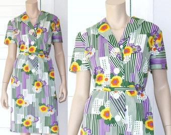 70s geometric floral shirt dress - medium large xl