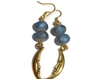 Crescent Moon earrings Crystal Earrings dark Blue crystal Earrings crescent moon crystal earrings gold moon earrings blue earrings handmade