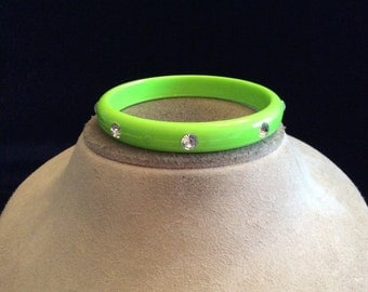 Vintage Lime Green Rhinestone Bangle Bracelet