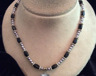 Vintage Black Glass Beaded & Gray/Black Glass Pendant Necklace