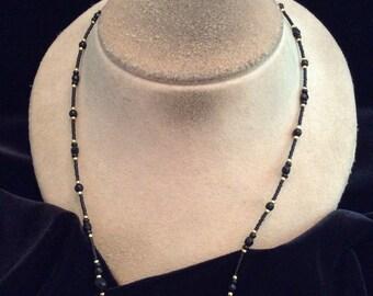 Vintage Black Glass Beaded & Goldtone Beaded Necklace