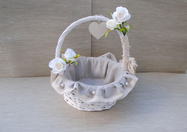 Flower Baskets Decoration : Rustic wedding decor vintage flower girl basket