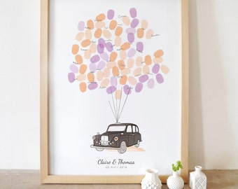 London taxi wedding guest book - Fingerprints poster