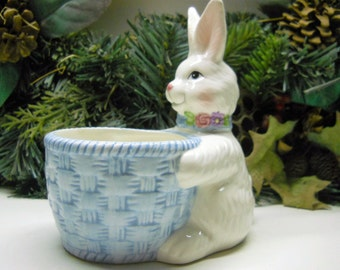Cute Vintage Avon China Bunny and Bowl ~ Easter Decor ~ Easter Candy Bowl ~ Bunny Planter ~ Natural Bounty Vintage