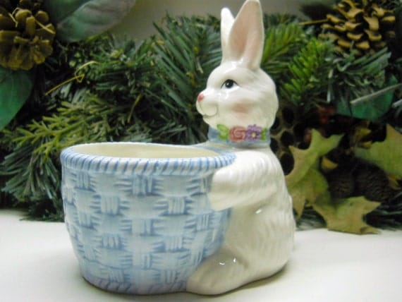 Vintage Avon China Bunny and Bowl