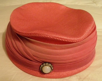 Vintage Pink Ladies Hat from 1950's - By Valerie Modes
