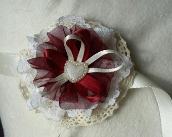 Wedding Wrist corsage for bridesmaids, Flower girls or Prom corsage made from ribbon