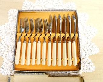 Fish Knives and Forks, Original Box, Bakelite Handle, Chrome Plate, Six Place Setting, Made in England, flatware, cottage chic