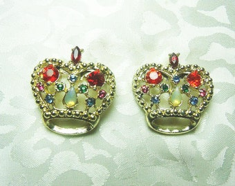 Rhinestone Crown Scatter Pins, Gold Tone With Multi Colored Rhinestones And Shapes