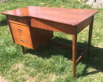 SOLD-American Mid Century Pedestal Desk