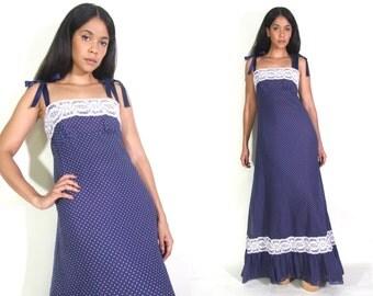 Vintage 70s Navy White Polka Dot Tie Shoulder White Lace Trim Maxi Dress Prairie Hippie