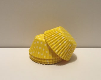 75 count - Grease Resistant Yellow with white polka dots standard size cupcake liners/baking cups