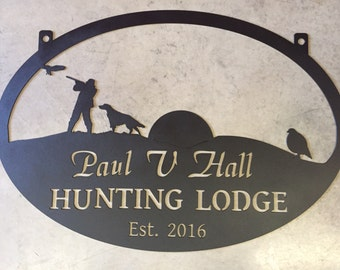 3' Metal  Sign with Quail , HUNTER and DOG, hills and rising sun