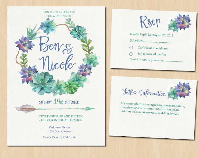Printable Floral Wedding Suite - PRINTABLE Invitation // RSVP // Information Card // Full suite or separate purchase