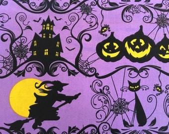 Halloween fabric - witch fabric - cat fabric - jackolantern fabric - jack-o-lantern fabric - haunted house fabric - black cat fabric #16490