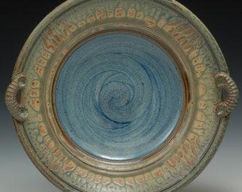 Shallow Bowl with Handles. Stoneware. Wheel thrown. Handmade. Functional.