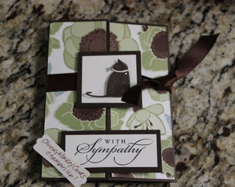 Stampin Up Homemade Greeting Card Cat With Sympathy Card Gala 4015