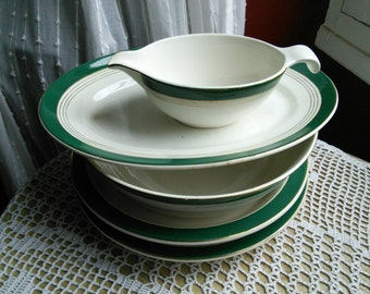 Serving Bowls and Plates 4 pc French Vintage Green Gold Digoin Lumiere