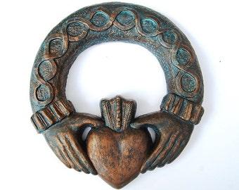 Claddagh wall art, celtic patio art, Irish Claddagh sculpture, cast stone Calddagh for the home and garden